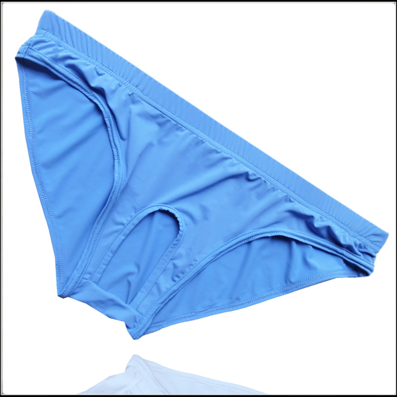 2017 Free shipping Men s Comfortable Open Front Sheer Hole men s underwear Ice silk briefs