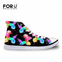 FORUDESIGNS Casual Ladies Shoes High Top Funny Balloon Dogs Pattern Women Vulcanize Shoes Flats Canvas Platform Sneakers Girls