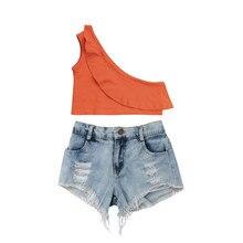 3d2730b146 2018 Verão Crianças Crianças Conjunto Menina Fora Do Ombro Superior  Colheita T-shirt + Ripped Denim Shorts 2 pcs Outfits roupas