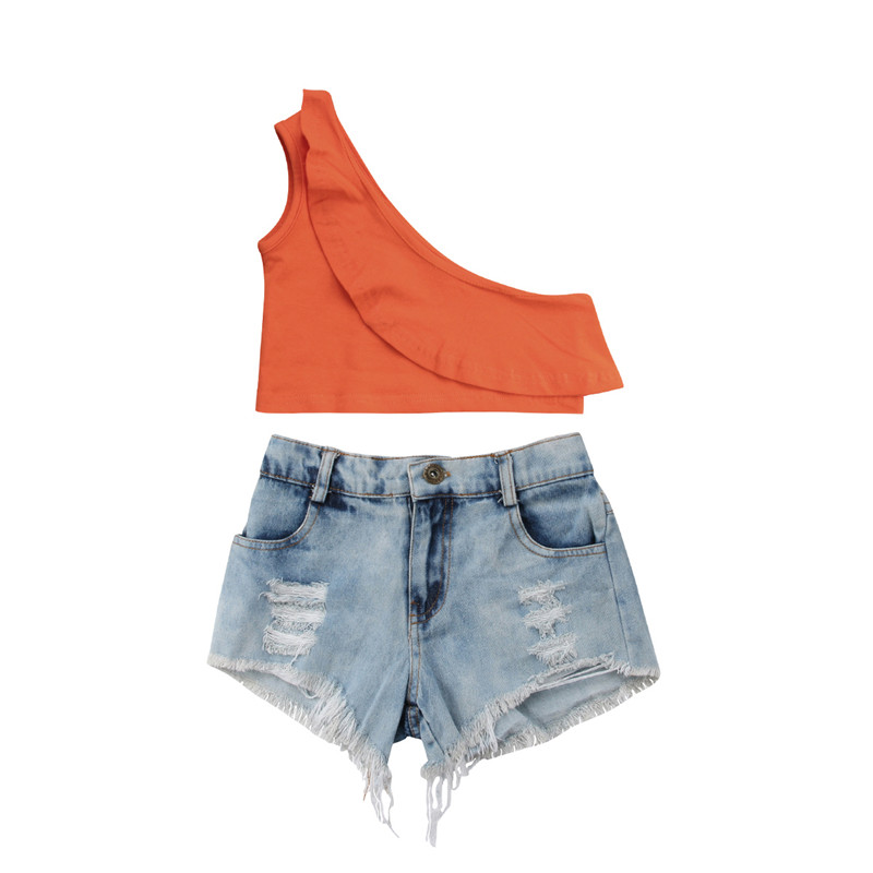 >2018 Summer Toddlers Kids Girl <font><b>Set</b></font> Off Shoulder Crop <font><b>Top</b></font> T-shirt+Ripped Denim Shorts 2pcs Outfits Clothing