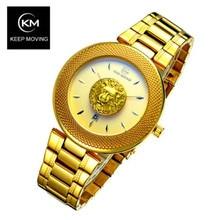 KEEP MOVING Fashion Mens Watches Top Brand Luxury Quartz Watch Men Casual Lion Head Steel Sport Relogio Masculino