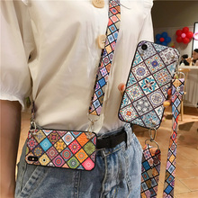 strap tpu case for iphone 7 8 6s 6 plus X XR XS MAX cover fashion Datura patterned shoulder lanyard soft silicon phone bag
