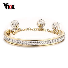 Vnox Gold Color Women Cuff Bangle Bracelet Crystal Stone Stainless Steel Metal(China)