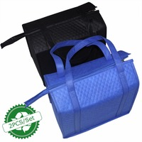 2PCS Eco Friendly Large Insulated Cooler Shopping Bags Reusable Lunch Bag For Wine Tote Bags Food
