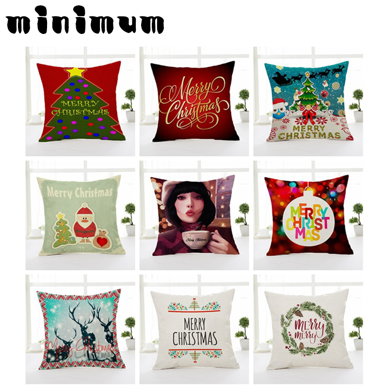 Let It Snow Xmas Style Cushion Cover Merry Christmas! Santa Claus Socks Balloon Home Decorative Pillows Cover Nordic