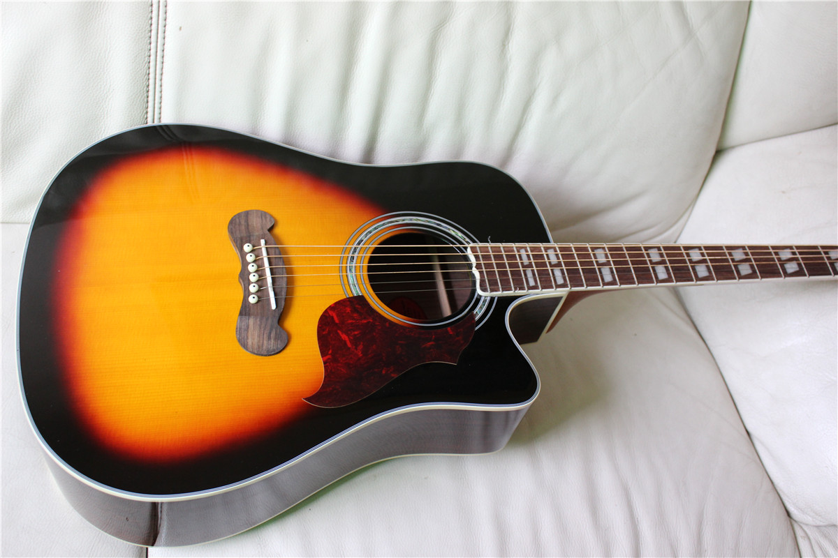 free shipping sunburst and natural color solid guitar new songwriter deluxe studio acoustic guitar acoustic electric