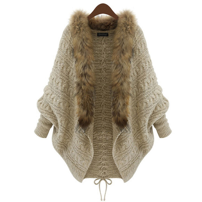 CheaperDrop shipping Women Vintage  new European station raccoon fur collar blouse thick sweater hot