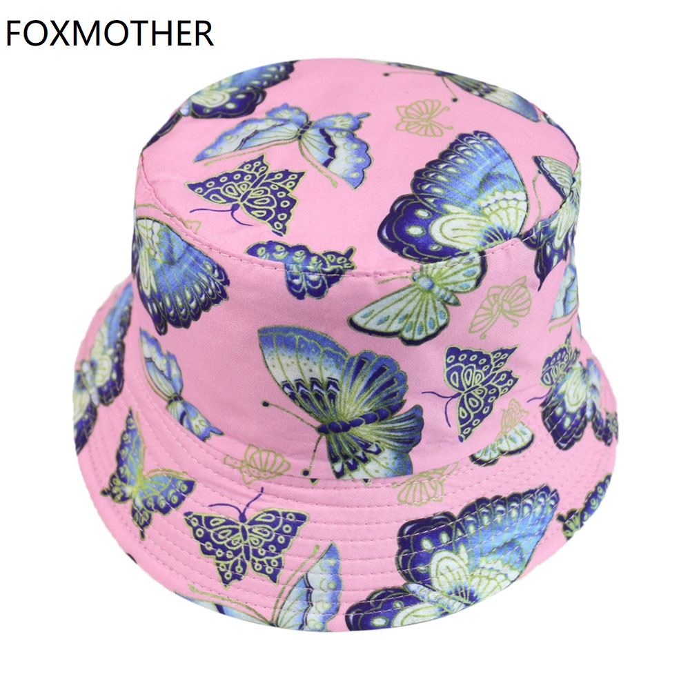 FOXMOTHER New Fashion Pink Butterfly Print Bucket Hats Women Sun Caps Fisherman