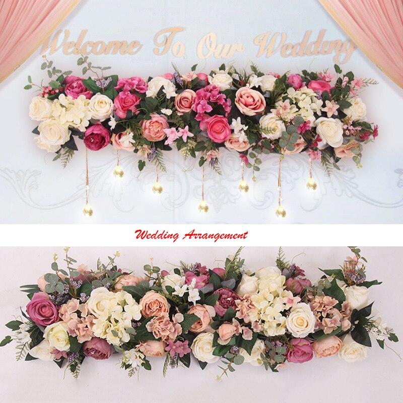 100 cm fleurs artificielles hortensia Rose route plomb fleur rangée pour mariage Arrangement mur fond décoration