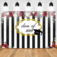 Get more info on the Mehofoto Class of 2019 Graduation Backdrop Black and White Striped Photo Backdrops Red Rose Floral Photography Background