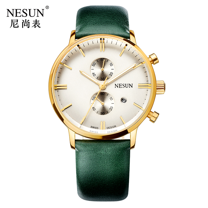 все цены на Nesun Men's Watches Top Brand Luxury Citizen Quartz movement Watch Men Chronograph Wrist clock Waterproof reloj hombre N8601-4 онлайн