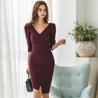 Sexy V neck Irregular Dress Women Half sleeve Mid length Bodycon Dress Wine Red OL Style Elegant DressFemale Vestidos
