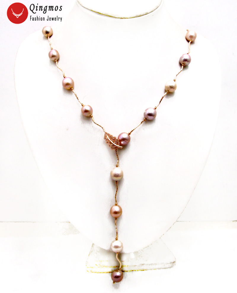 Qingmos Rose font b Gold b font Natural Round 11 12mm Purple Edison Pearl 33 Necklace
