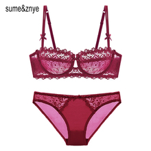 new 2017 summer Intimates Women underwear bra girl lingerie Hollow Embroidery Plus Size Sexy transparent lace bra and Panty Sets