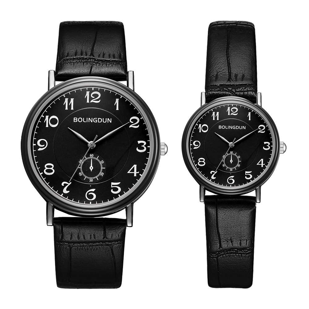 Top Brand High Quality Fashion Simple Couple Watches Fashion Geneva Faux Leather Analog Quartz Wrist Watch Clock Saat Set