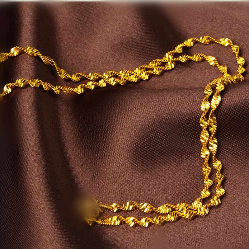 "Fashion Jewelry 16""-30"" Gold Filled Double Water Wave Necklace Chain Women's Necklace Lobster Clasp Wedding Party Gift"