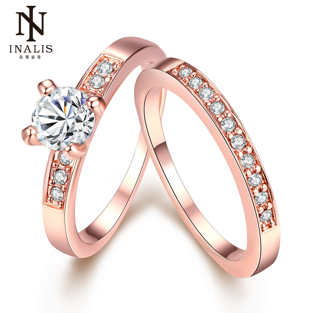 INALIS Rose Gold/Silver Color Luxury 2 Rounds Bijoux Fashion Wedding Ring Set Cubic Zirconia Jewelry for Women As Christmas Gift
