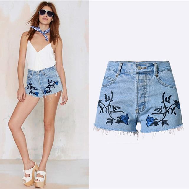6d257e692e Nueva moda casual Pantalones cortos jeans Mujer Bordado Pantalones cortos  Jeans para mujer jeans Femme Denim