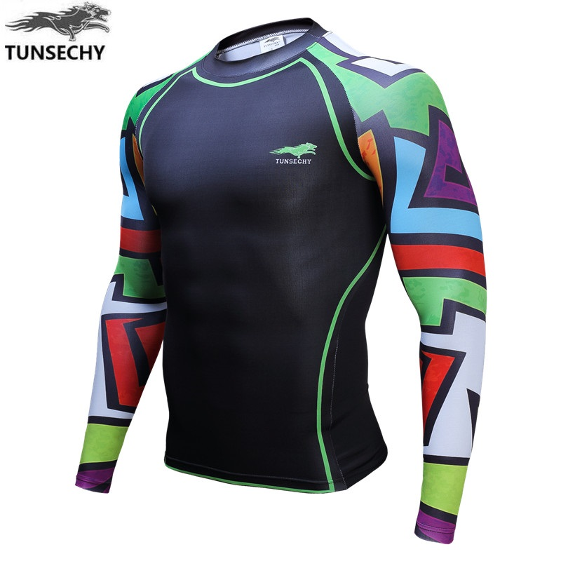 Digital printing TUNSECHY Brand long sleeve T-shirt, 2017 hot style tight T-shirts of Wholesale and retail Free transportation