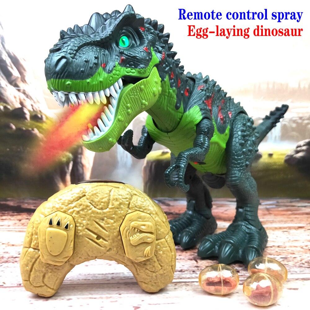 Dinossauro de controle remoto spray que põe ovos tyrannosaurus rex dinossauro modelo brinquedos animal figura ação brinquedo para crianças presentes