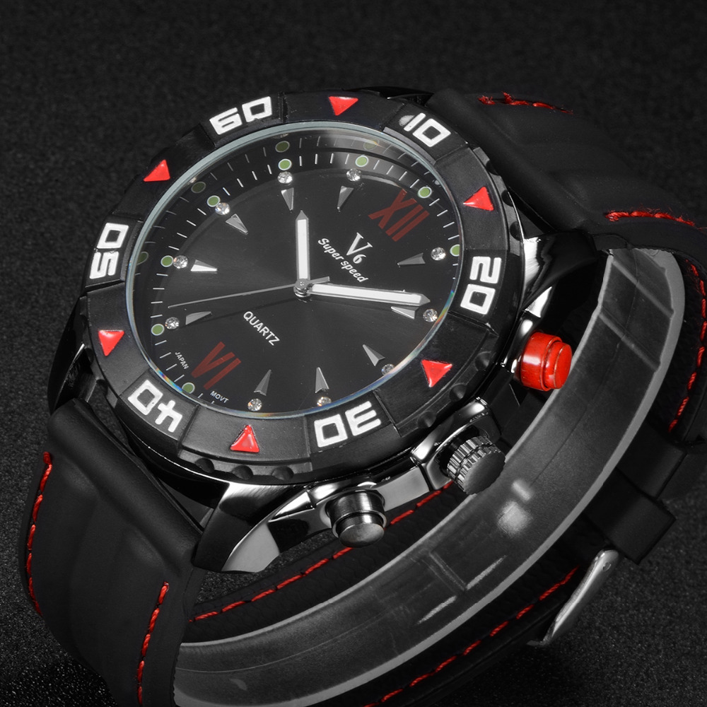 New Arrived Men's V6 Watch Fashion Hot Silicone Quartz Analog Design Men Sports Watch male Silicone Wristwatch Mascuion relojes плеер ritmix rf 3450 8gb белый