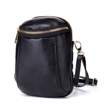 купить Genuine Cow Leather Vintage Bucket Solid Zipper Women Messenger Bag Ladies Shoulder Bags Women Mini Bag Clutch Party Bag Black по цене 1234.79 рублей