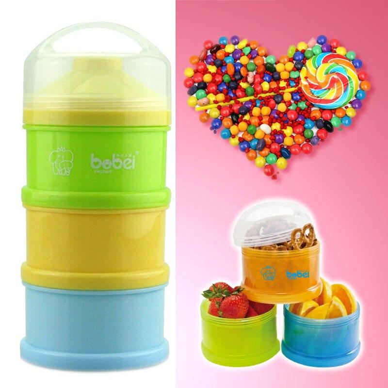 Portable Newborn Infant Milk Powder Container 3 Layers Baby Feeding Food Bottle Dry Fruits Snacks Candy Storage Box FJ88