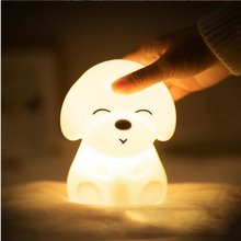Color Changing LED Night Light 7 Colors Small Creative Puppy Silicone USB Charging Toy Bedroom Baby Feeding Cute