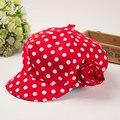 2016 primavera nuevo estilo Coreano punto rojo sombrero de flores de la muchacha gorras chicas sombreros de moda los niños caps sombrero de verano