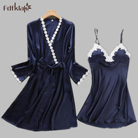 New brand silk lace robes & gowns set women sleepwear robe long sleeve 2 pieces sets sexy lady bathrobes home suit A563