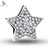 Authentic 925 Sterling Silver Wishing Star Charm Fit CD Bracelet With Clear Cubic Zirconia DIY Accessories