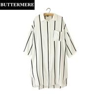 BUTTERMERE Blouses Ladies Clothing Loose Casual Blouses 3XL Black White Striped Shirt Elegant Split Pocket Long