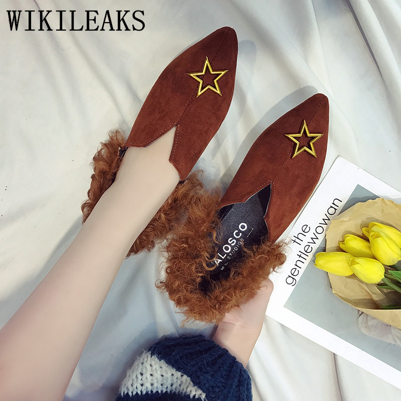autumn women fur flats luxury brand star slip on loafers zapatillas mujer casual ladies shoes pointed toe sapato feminino black new designer women fur flats luxury brand slip on loafers zapatillas mujer casual ladies shoes pointed toe sapato feminino black