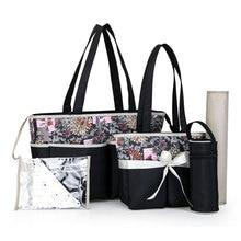 5 Pcs Set Diaper Bag Baby 3-In-1 Strollers Handbag Large Capacity Maternal Backpacks For Mom Travel Nursing Baby Cart Backpack