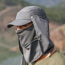 Outdoor Flap Caps Quick Dry Sunshade UV Protection Breathable Detachable Face Mask Ear Neck Cover Baseball Visor Cap Sportswear