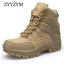 ZYYZYM Men Desert Boots Autumn Winter Brand Military Leather Special Force Tactical Combat Outdoor Shoes Work