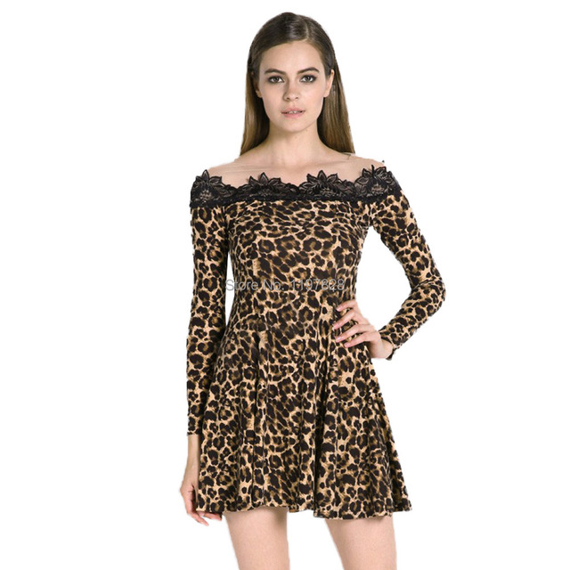 6d740906b47 Floral Lace Dress Women Panther Animal Leopard Print Fit And Flare Dresses  Mesh Skater Swing Mini Dress Stretch Long-sleeve