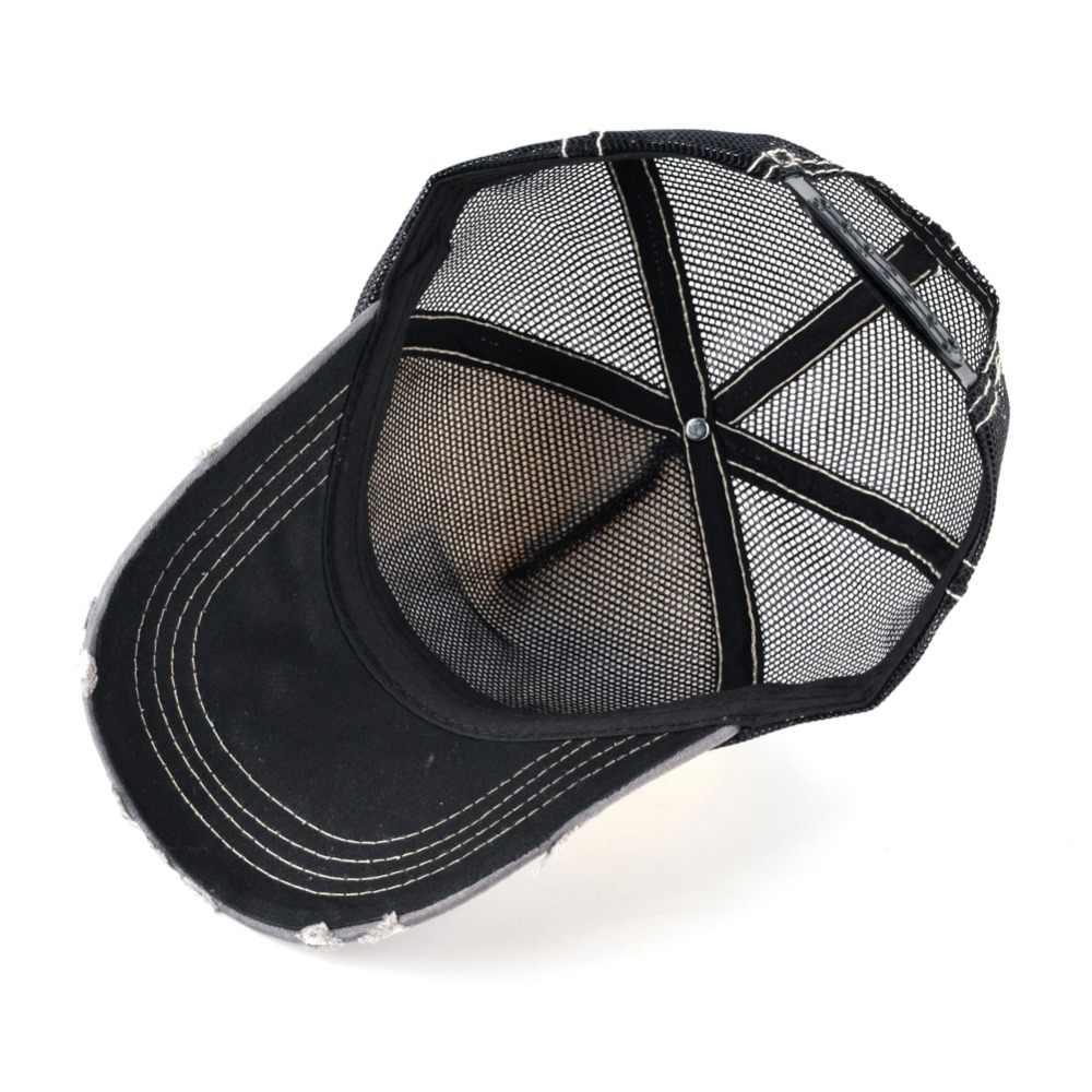 Moda Unisex Yama Kemikleri Kurt Nakış Hip Hop Şapka Nefes Örgü Beyzbol Kapaklar Erkekler Kadınlar Casquette Yaz Trucker Gorras