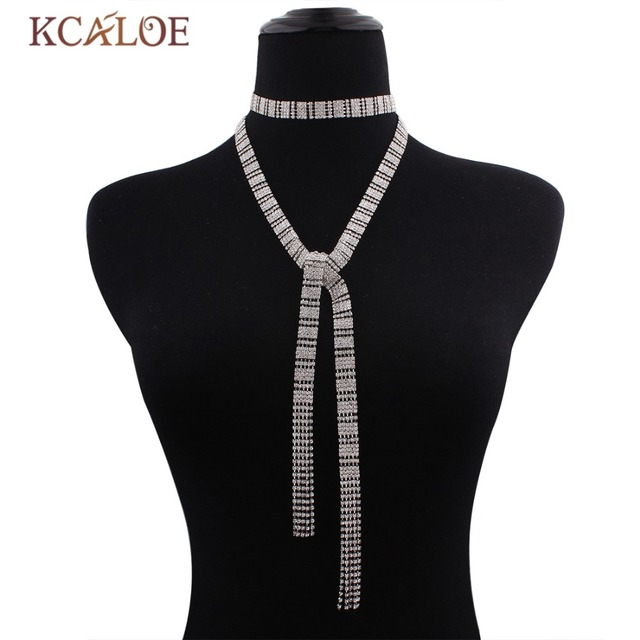 KCALOE Crystal Rhinestone Chocker Necklace Women Jewelry Accessories Silver Plated Long Tie a Knot Statement Necklaces 2017