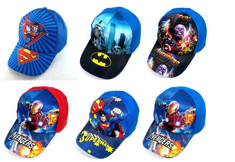 1pcs popular cartoon kids lovely avengers superman batman Fashion Sun Hat Casual Cosplay   Baseball     Cap   children party gifts