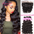 7A brazilian water wave with frontal lace frontal closure with bundles water wave brazilian hair with frontal loose deep wave