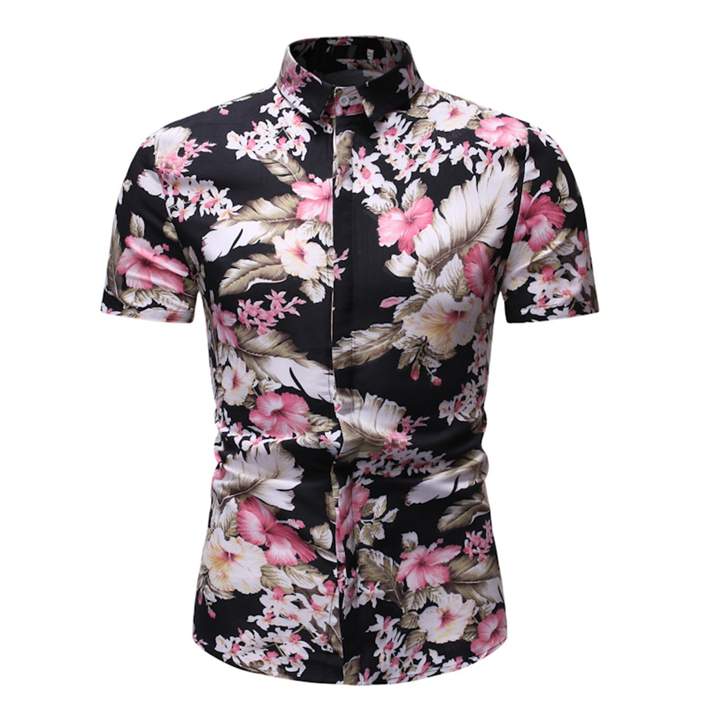 Womail 2019 New Arrival Fashion Design Summer Shirts Men's New Style Hawaiian Pink Printed Short-Sleeved Shirt Blouse Top