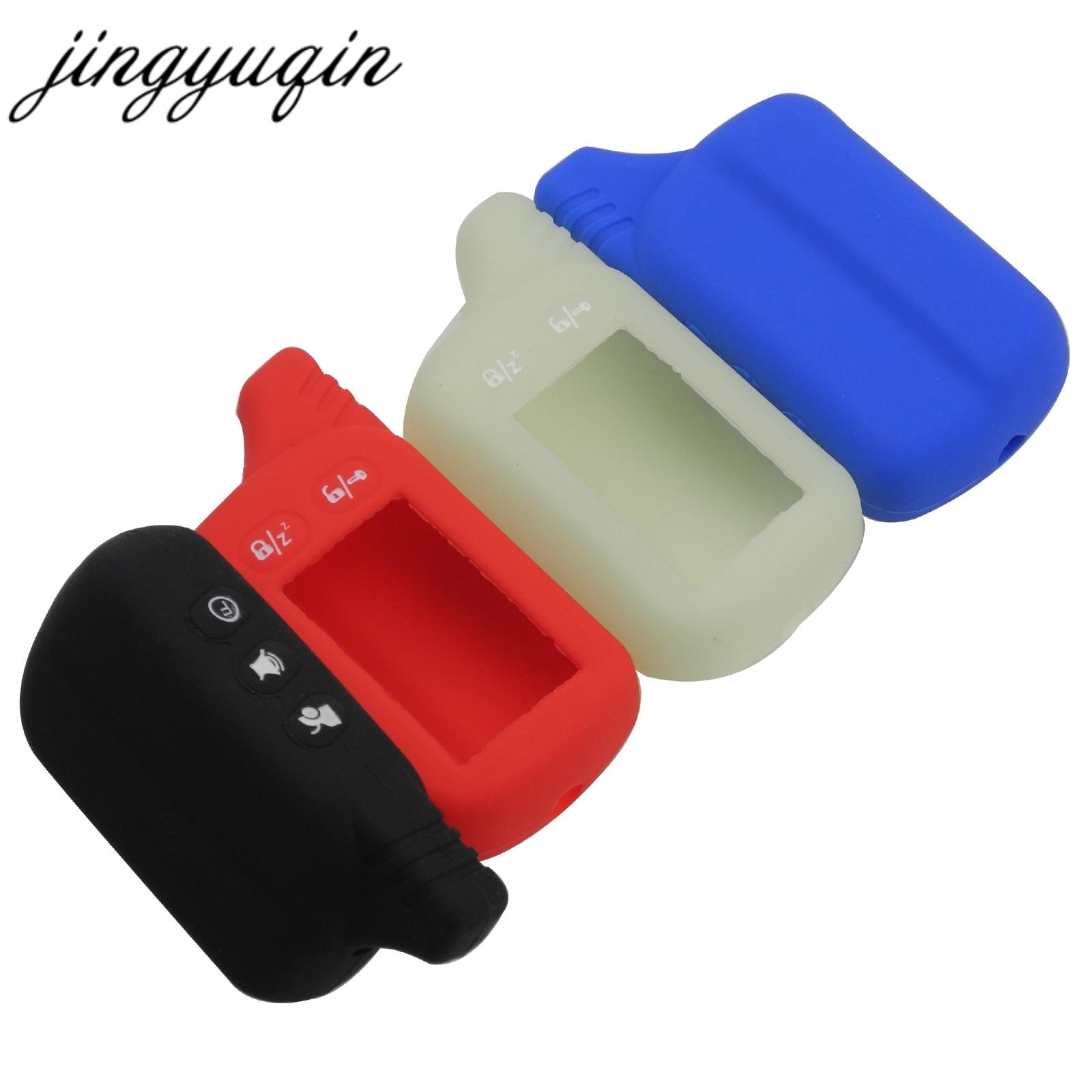 цена на jingyuqin Silicone Case For Tomahawk TZ9030 TZ9020 TZ9031 TZ7010 Scher-khan Two Way Car LCD Alarm Remote Keychain Cover