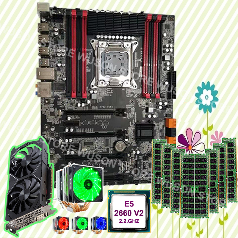 Hot gaming PC motherboard bundle X79 motherboard CPU Xeon 2660 V2 2.2GHz with cooler GTX1050TI 4G video card RAM 8*8G 1600 RECC|Motherboards| |  - title=