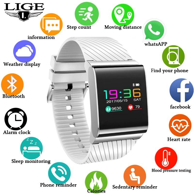 LIGE2019 nueva pulsera inteligente para mujer, Monitor de presión arterial, Monitor de ejercicio, podómetro, reloj inteligente, reloj deportivo para hombre