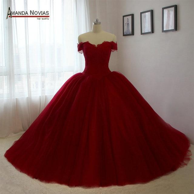 Puffy prinicess wine red wedding dresses 2017 new design in Wedding