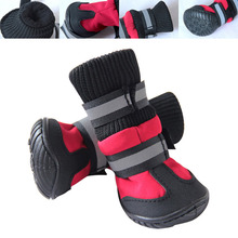 2018 new waterproof dog shoes high waist cotton rain boots boots solid anti-skid dog boots sole claw protection