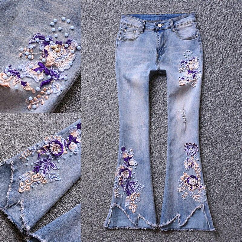 Jeans Bordado Cuentas Pierna Arrancó La Ancha Primavera Moda 2019 Mujeres Pantalones Nuevo De Las Otoño Lavado qH6tTzxB