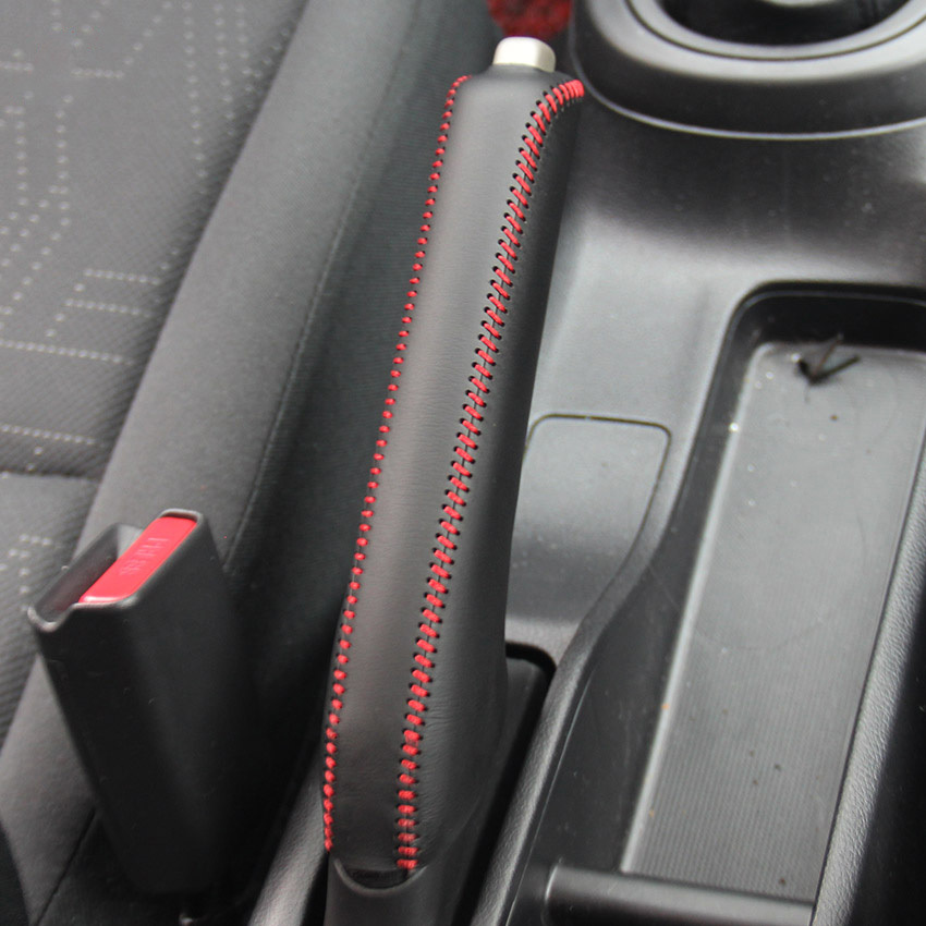 Handbrake Grips Case For Honda FIT 2014 Handbrake Covers Genuine Leather Auto Supplies  Interior Decoration DIY Car Styling