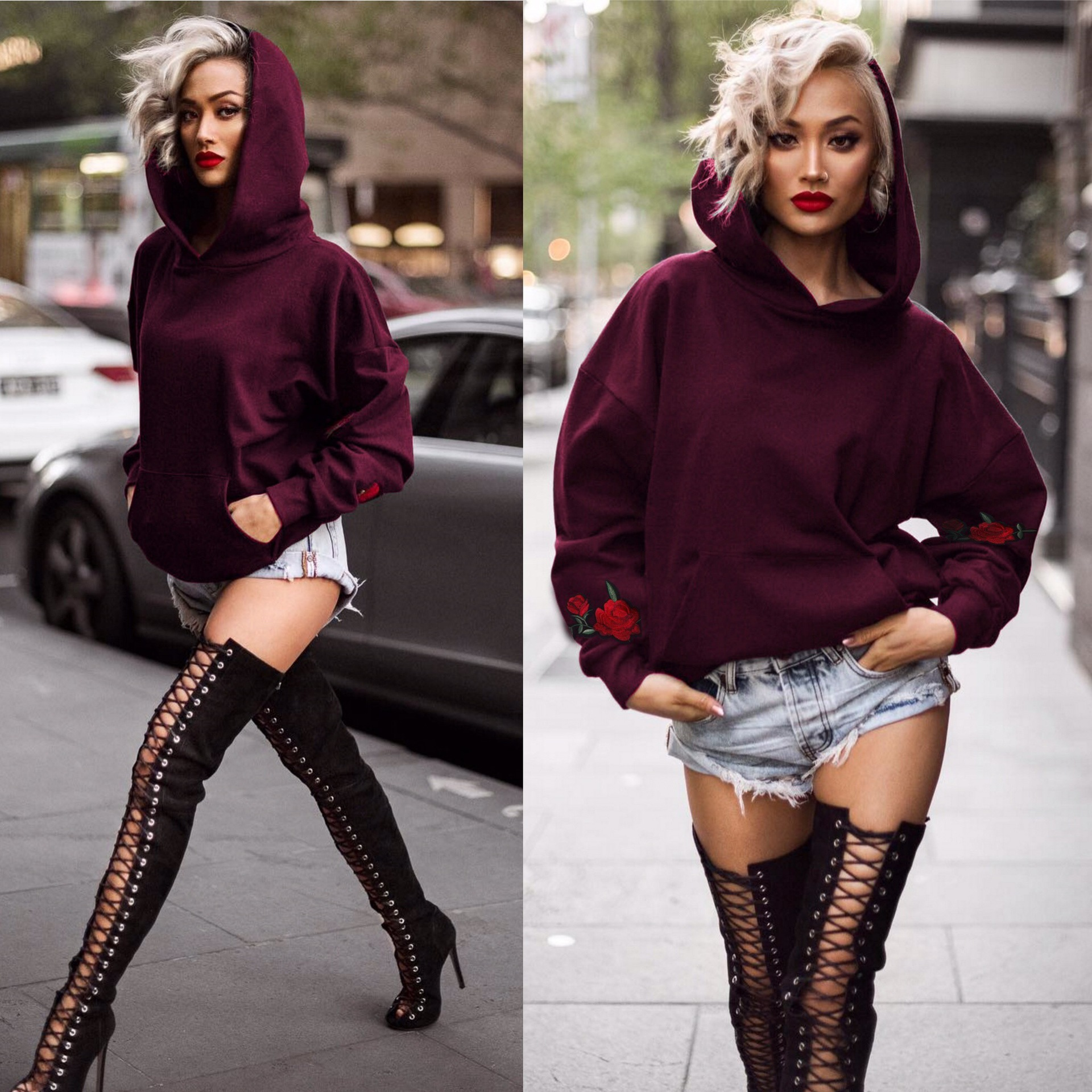 women sweatshirt fashion floral embroidery pullover streetwear gothic tops full sleeve hoodies female plus size sweatshirts in Hoodies amp Sweatshirts from Women 39 s Clothing